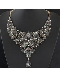 Luxury Gray Waterdrop Shape Diamond&flower Shape Decorated Collar Design