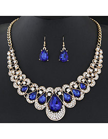 Temperament Sapphire Blue Waterdrop Shape Diamond Decorated Short Chain Design