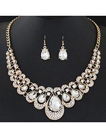 Temperament White Waterdrop Shape Diamond Decorated Short Chain Design