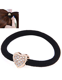 Korean Gold Color & Black Diamond Decorated Heart Shape Design Rubber Band Hair Band Hair Hoop