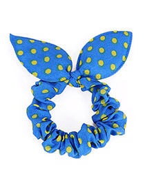 Cute Blue Dot Patttern Bowknot Shape Design Rubber Band Hair Band Hair Hoop