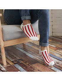 Fashion White & Red Stripe Pattern Shallow Mouth Design Combed Cotton Fashion Socks