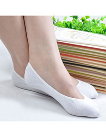 Candy Color White Shallow Mouth Invisible Socks Simple Design Charcoal Cotton Fashion Socks