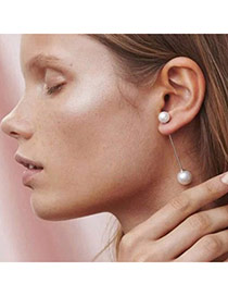 Nice White Pearl Decorated Simple Design Alloy Stud Earrings