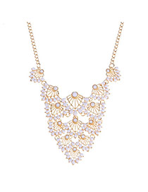 Fashion White Leaf Shape Decorated Hollow Out Design Alloy Korean Necklaces
