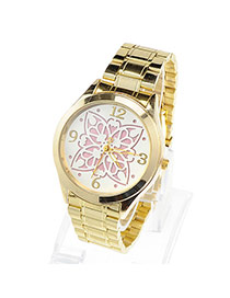 Cheap Pink Flower Pattern Simple Design Alloy Ladies Watches