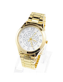 Discount Silver Color Round Pattern Simple Design Alloy Ladies Watches