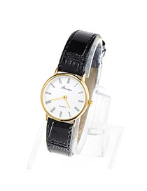Couple Models Black & Gold Color Leather Thin Strap Simple Design Alloy Ladies Watches
