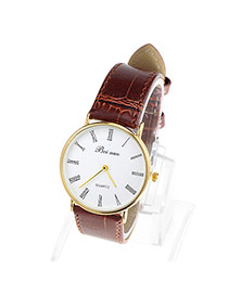Couple Models Brown & Gold Color Leather Thin Strap Simple Design