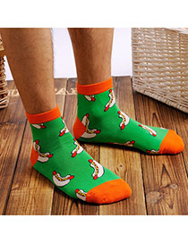 Lovely Green Cartoon Food Pattern Simple Design Combed Cotton Fashion Socks