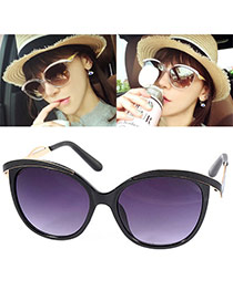 Trendy Black Big Frame Simple Design Resin Women Sunglasses