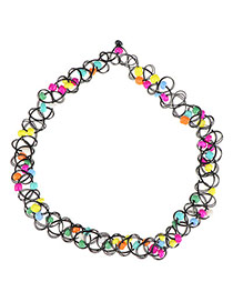 Vintage Multicolor Beads Decorated Weave Design Resin Korean Necklaces
