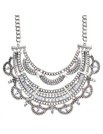 Bright Bronze & White Diamond Decorated Multilayer Design Alloy Fashion Necklaces