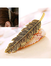 Classic Bronze Leaf Shape Decorated Simple Design Alloy Hair clip hair claw