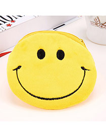 Wholesale Yellow Smile Pattern Simple Design Flannel Wallet