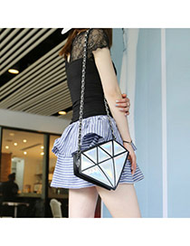 Fashion Silver Color Triangle Pattern Simple Design Pu Messenger bags