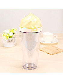 Contracted Yellow 400ml Ice Cream Shape Cover Cups Design Glass Household Goods