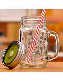 Health Green 500ml Letter Pattern Cups Design With A Straw Glass Household goods