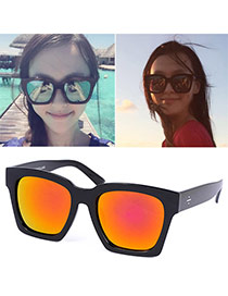 Vintage Red Thick Leg Big Frame Design Alloy Women Sunglasses