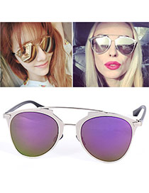 Wholesale Purple Thin Leg Metal Frame Design Alloy Women Sunglasses