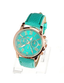 Fashion Green Roman Numerals Pattern Simple Design Alloy Ladies Watches