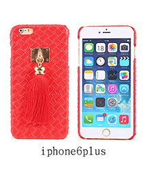 Imitation Leather Red Square Pattern Tassel Case Design