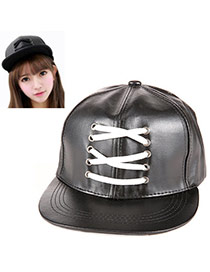 Popular Black Pure Color Shoelace Simple Design  Leather Baseball Caps