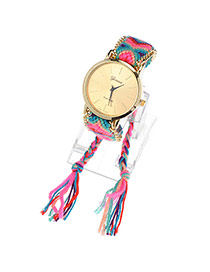 Fashion Red Big Digit Decorated Pure Color Strap Watch
