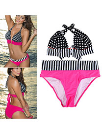 Black & Plum Red black & plum red Dot Pattern Simple Design Polyester Sexy Bikini