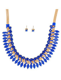 Temperament Blue Gemstone Decorated Oval Shape Weave Design  Alloy Jewelry Sets