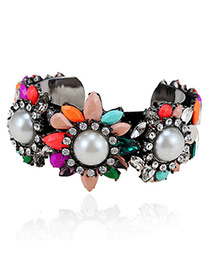 Magnificent Multicolor Gemstone Decorated Flower Design  Alloy Fashion Bangles