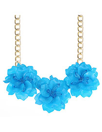 Glamour Blue Waterdrop Flower Decorated Simple Design Alloy Bib Necklaces