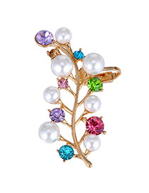 Boutique Multicolor Pearl Decorated Leaf Shape Design Alloy Stud Earrings