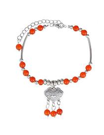 Fashion Orange & Silver Color Beads Decorated Tassel Design  Alloy Fashion Anklets