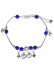Glamour Sapphire Blue & Silver Color Beads Decorated Bell Shape Design  Alloy Fashion Anklets
