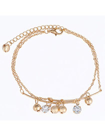 High-quality Gold Color Beads Decorated Double Layer Design  Alloy Fashion Anklets