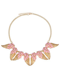 Brilliant Pink Gemstone Decorated Wing Shape Design Alloy Korean Necklaces