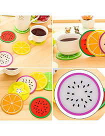 Candy Color  Purple Fruit Pattern Coaster Simple Design  Silica Gel Household goods
