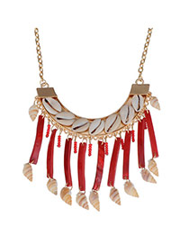 Boutique Red Shell Shape Decorated Tassel Design Alloy Bib Necklaces