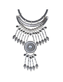Vintage Silver Color Leaf Shape Decorated Tassel Design  Alloy Fashion Necklaces