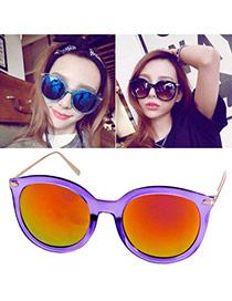 Fashion Purple Big Round Frame Simple Design  Alloy Women Sunglasses
