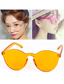 High-quality Yellow Frameless Pure Color Simple Design  Alloy Women Sunglasses