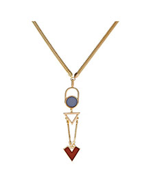 Personalized Gold Color Triangle Shape Pendant Simple Design Alloy Fashion Necklaces