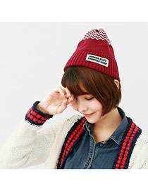 Casual Red Letter Sooner State Decorated Simple Design Cashmere Knitting Wool Hats