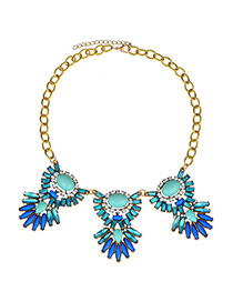 Charm Green Gemstone Decorated Simple Design  Alloy Korean Necklaces