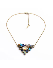 Retro Multicolor Gemstone Decorated Flower Design Alloy Korean Necklaces