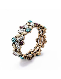 Retro Multicolor Diamond Decorated Simple Design Alloy