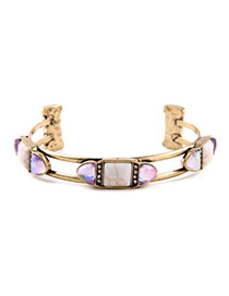 Retro White Gemstone Decorated Double Layer Design Alloy Fashion Bangles