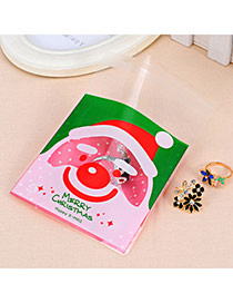 Sweet Red&green Smiling Face Santa Clau Pattern Simple Design Polypropylene Jewelry Tools