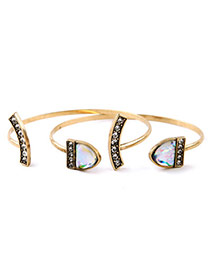 Retro Bronze Diamond Decorated Open Design Alloy Fashion Bangles